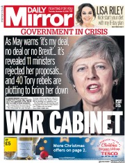 Daily Mirror (UK) Newspaper Front Page for 15 November 2018