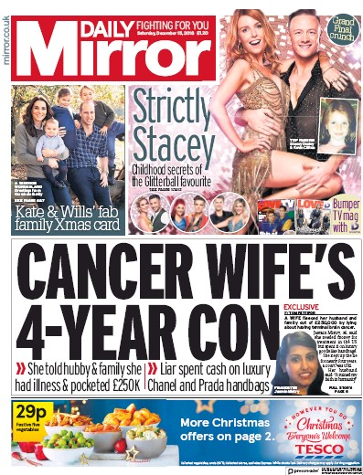 Daily Mirror Newspaper Front Page (UK) for 15 December 2018