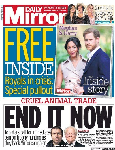 Daily Mirror Newspaper Front Page (UK) for 15 January 2020