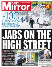 Daily Mirror front page for 15 January 2021