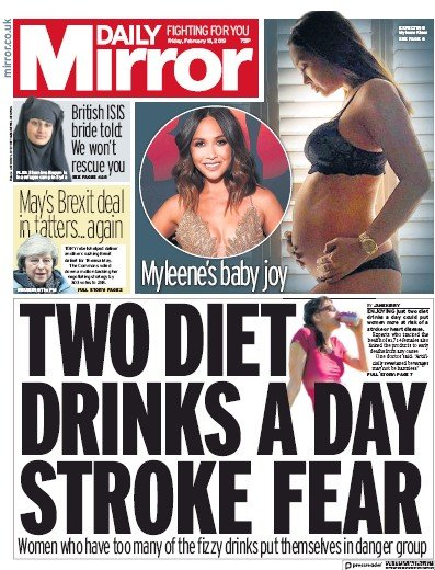 Daily Mirror Newspaper Front Page (UK) for 15 February 2019