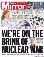 Daily Mirror (UK) Newspaper Front Page for 15 April 2017