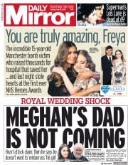 Daily Mirror (UK) Newspaper Front Page for 15 May 2018