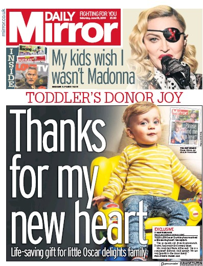 Daily Mirror Newspaper Front Page (UK) for 15 June 2019