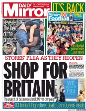 Daily Mirror (UK) Newspaper Front Page for 15 June 2020