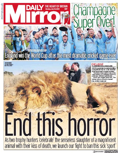 Daily Mirror Newspaper Front Page (UK) for 15 July 2019