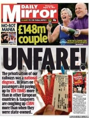Daily Mirror Newspaper Front Page (UK) for 15 August 2012