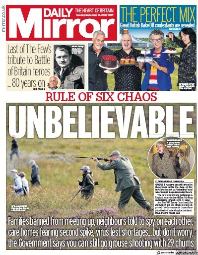 Daily Mirror Newspaper Front Page (UK) for 15 September 2020
