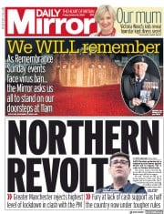 Daily Mirror front page for 16 October 2020