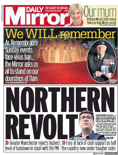 Daily Mirror Newspaper Front Page (UK) for 16 October 2020