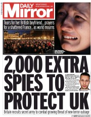Daily Mirror (UK) Newspaper Front Page for 16 November 2015