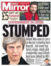 Daily Mirror (UK) Newspaper Front Page for 16 November 2018