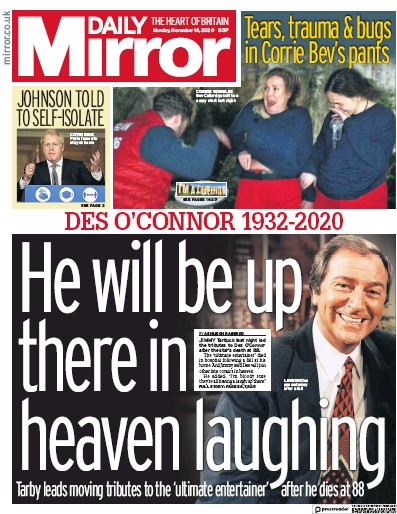 Daily Mirror Newspaper Front Page (UK) for 16 November 2020