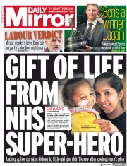 Daily Mirror () Newspaper Front Page for 16 December 2019