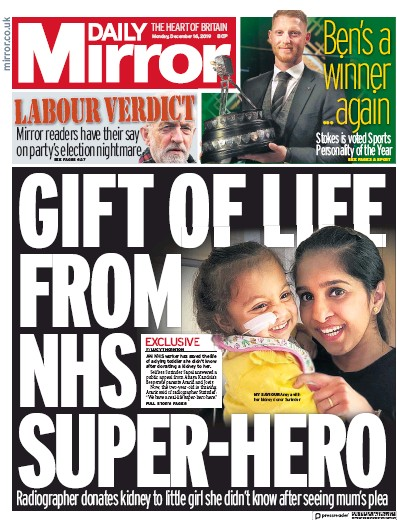 Daily Mirror Newspaper Front Page (UK) for 16 December 2019