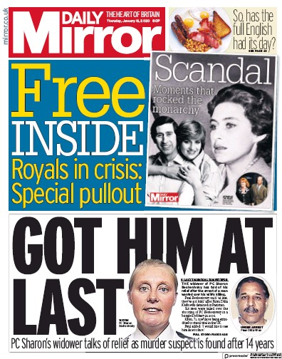 Daily Mirror Newspaper Front Page (UK) for 16 January 2020