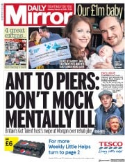 Daily Mirror (UK) Newspaper Front Page for 16 February 2019