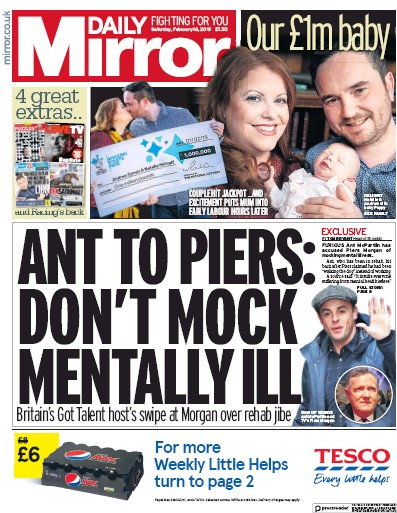 Daily Mirror Newspaper Front Page (UK) for 16 February 2019