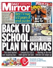 Daily Mirror (UK) Newspaper Front Page for 16 May 2020