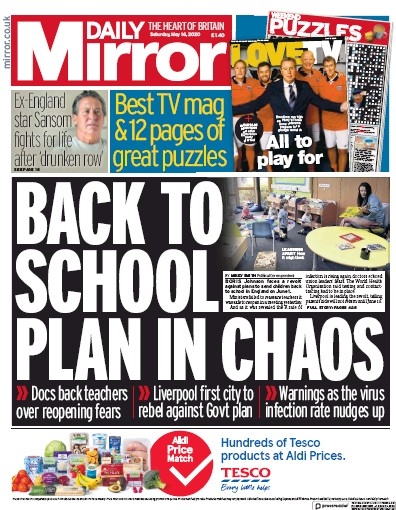 Daily Mirror Newspaper Front Page (UK) for 16 May 2020