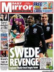 Daily Mirror Newspaper Front Page (UK) for 16 June 2012