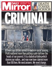Daily Mirror (UK) Newspaper Front Page for 16 June 2017