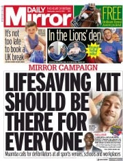 Daily Mirror () Newspaper Front Page for 16 June 2021