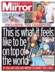 Daily Mirror () Newspaper Front Page for 16 July 2019