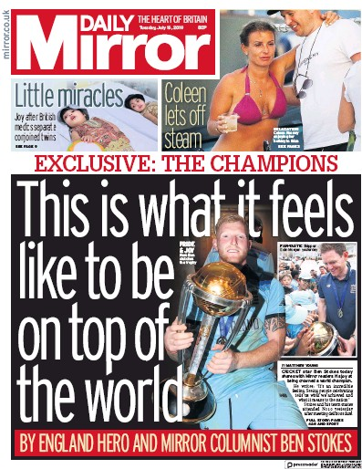 Daily Mirror Newspaper Front Page (UK) for 16 July 2019