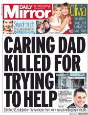 Daily Mirror (UK) Newspaper Front Page for 16 August 2019
