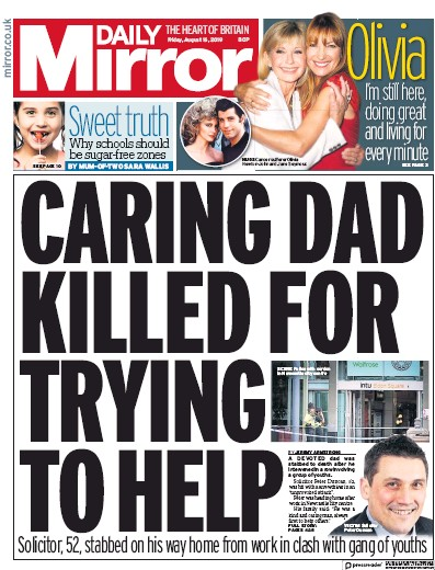 Daily Mirror Newspaper Front Page (UK) for 16 August 2019