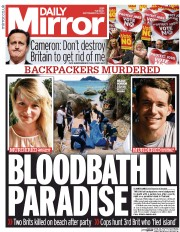 Daily Mirror (UK) Newspaper Front Page for 16 September 2014