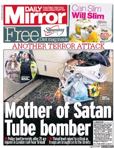 Daily Mirror Newspaper Front Page (UK) for 16 September 2017