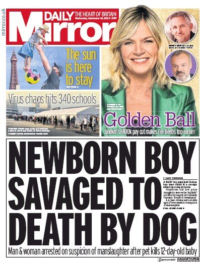 Daily Mirror Newspaper Front Page (UK) for 16 September 2020