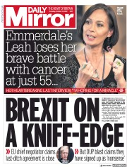 Daily Mirror (UK) Newspaper Front Page for 17 October 2019