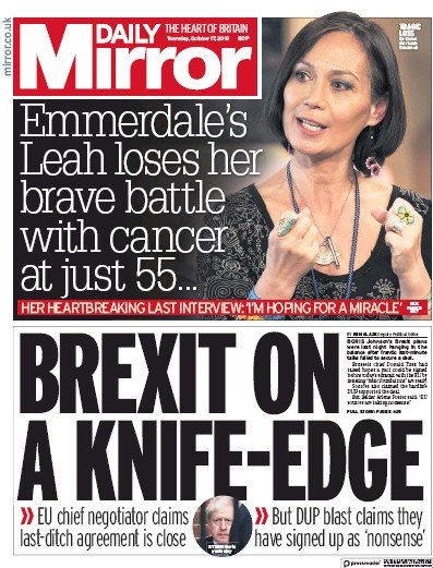 Daily Mirror Newspaper Front Page (UK) for 17 October 2019