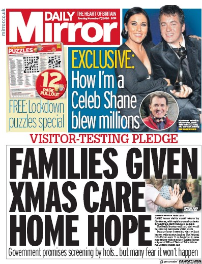 Daily Mirror Newspaper Front Page (UK) for 17 November 2020