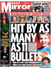 Daily Mirror () Newspaper Front Page for 17 December 2012