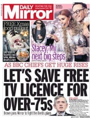 Daily Mirror () Newspaper Front Page for 17 December 2018