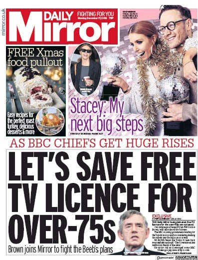 Daily Mirror Newspaper Front Page (UK) for 17 December 2018