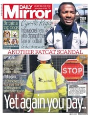 Daily Mirror (UK) Newspaper Front Page for 17 January 2018