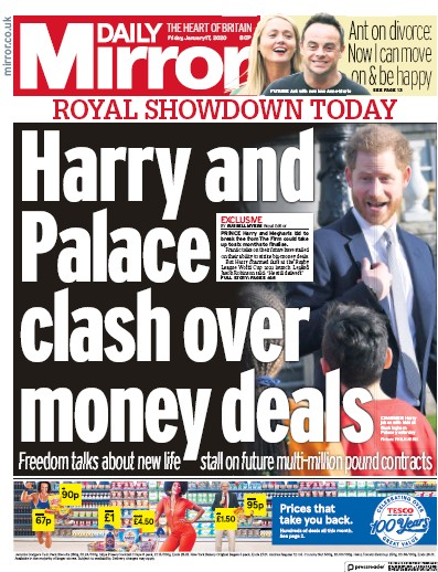 Daily Mirror Newspaper Front Page (UK) for 17 January 2020