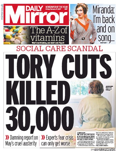 Daily Mirror Newspaper Front Page (UK) for 17 February 2017