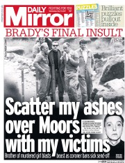 Daily Mirror (UK) Newspaper Front Page for 17 May 2017