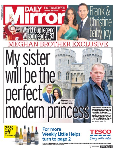 Daily Mirror Newspaper Front Page (UK) for 17 May 2018
