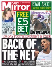 Daily Mirror (UK) Newspaper Front Page for 17 June 2020