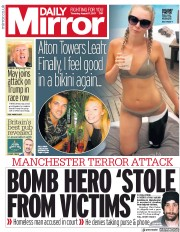 Daily Mirror (UK) Newspaper Front Page for 17 August 2017