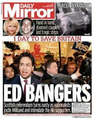 Daily Mirror (UK) Newspaper Front Page for 17 September 2014