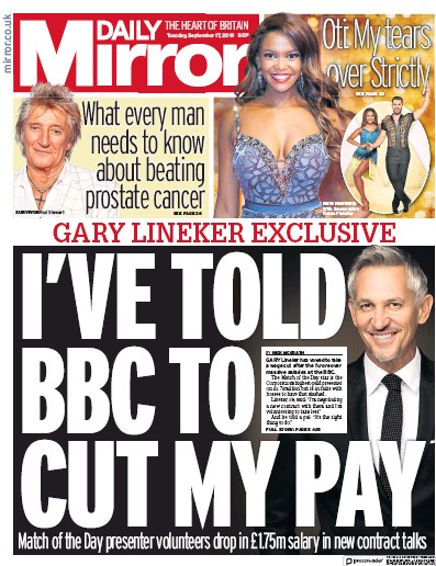Daily Mirror Newspaper Front Page (UK) for 17 September 2019