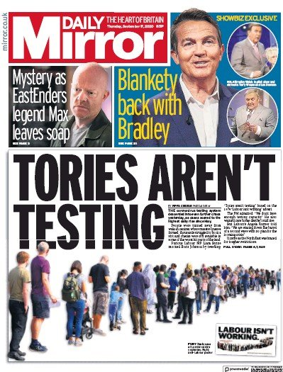 Daily Mirror Newspaper Front Page (UK) for 17 September 2020